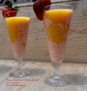 Swirled Mango, Strawberry, Banana Smoothie Recipe with Fruttare