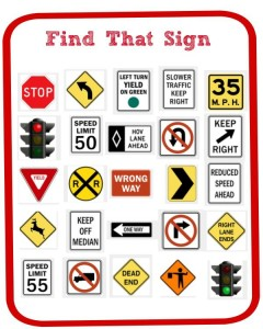 Free Printable Find That Sign Car Game