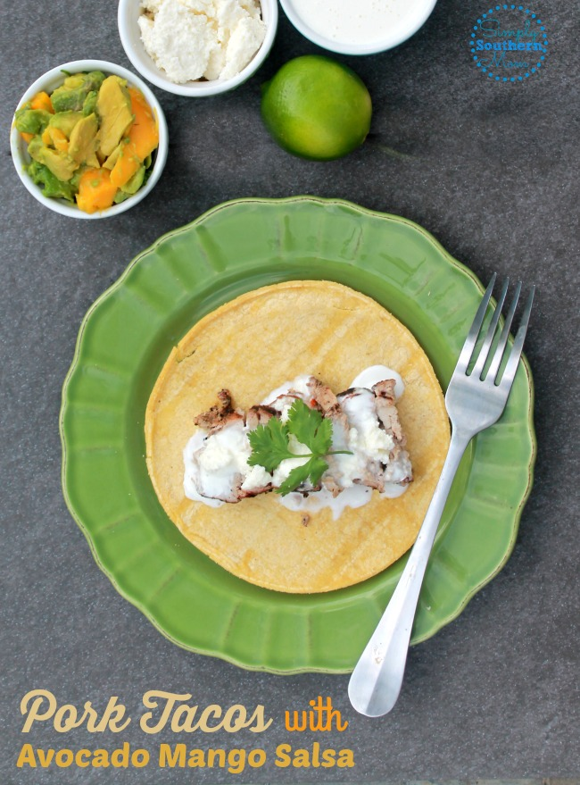 Craving an easy 30 minute meal? Try these delicious pork tacos with avocado mango salsa. They're naturally gluten free and so tasty!