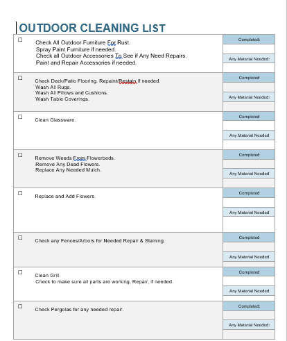 outdoor cleaning checklist