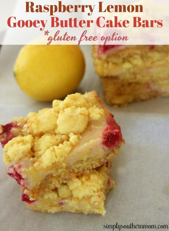 Raspberry Lemon Gooey Butter Cake Bars Pin