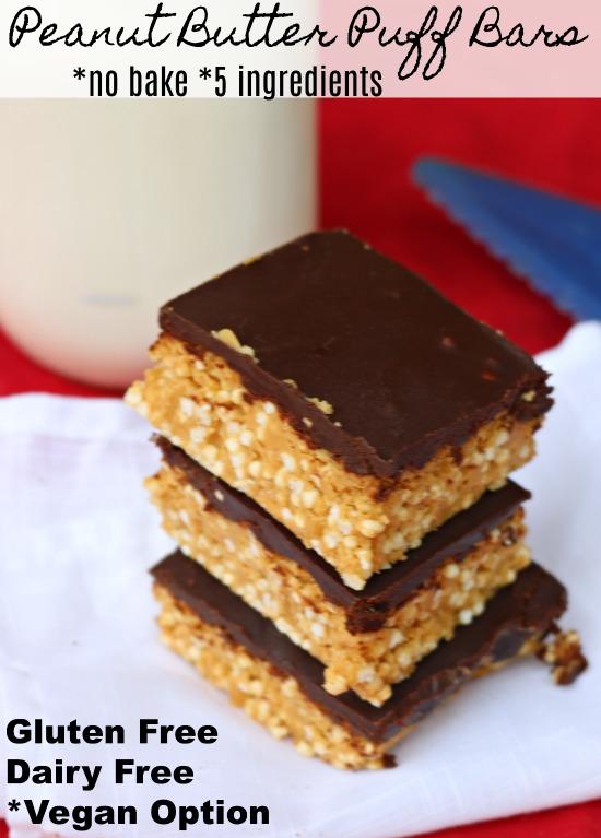 Gluten Free Dairy Free Peanut Butter Puff Bars