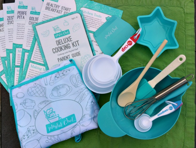 The Mindware Playful Chef Deluxe Cooking Kit has an apron, plenty of cooking tools, a mixing bowl, recipes and more.