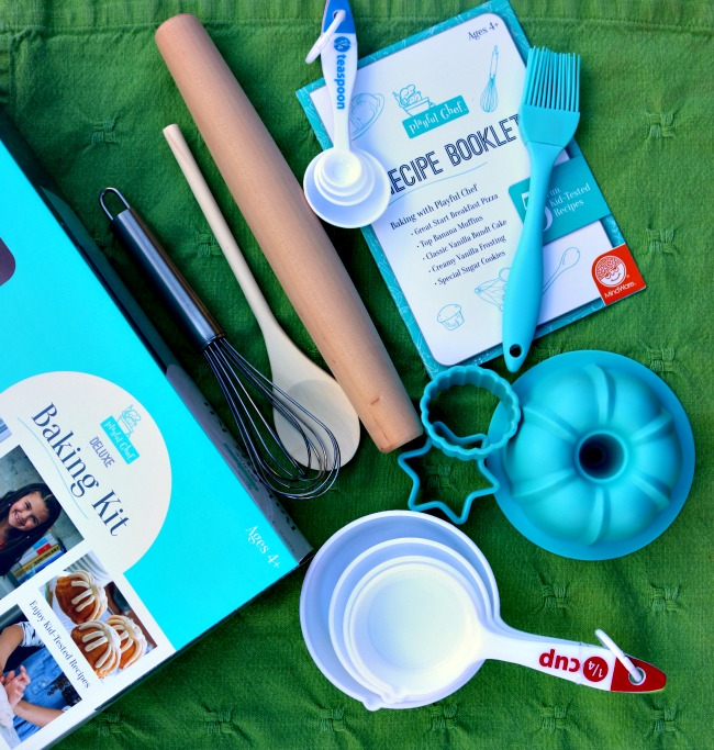 The Mindware Deluxe Baking Kit has 16 baking tools including measuring spoons, a silicone bundt pan, a whisk, recipes and more!