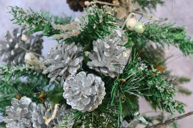 Close up of glitter pine cones